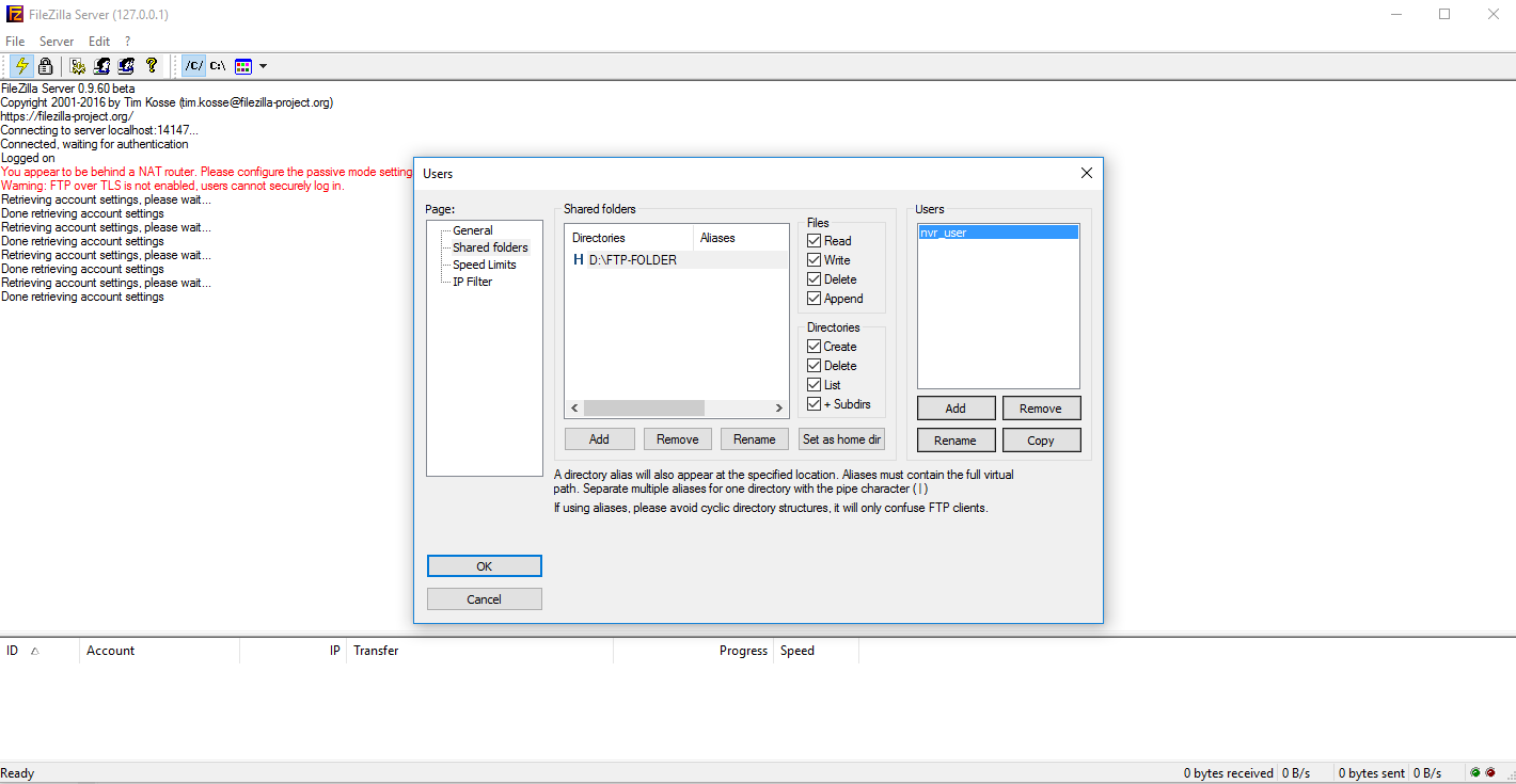 Настройка FTP сервера для видеонаблюдения